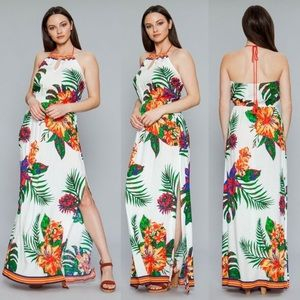🌴White Tropical Halter Maxi Dress with Side Slits